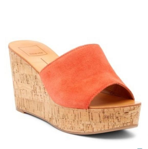 2271b54a6d6 DOLCE VITA Orange Leather Barkley Cork Wedges
